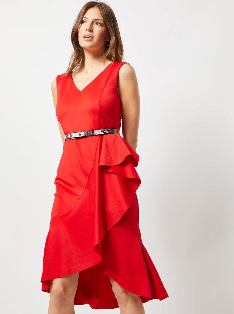 Červené pouzdrové šaty s volánem Dorothy Perkins