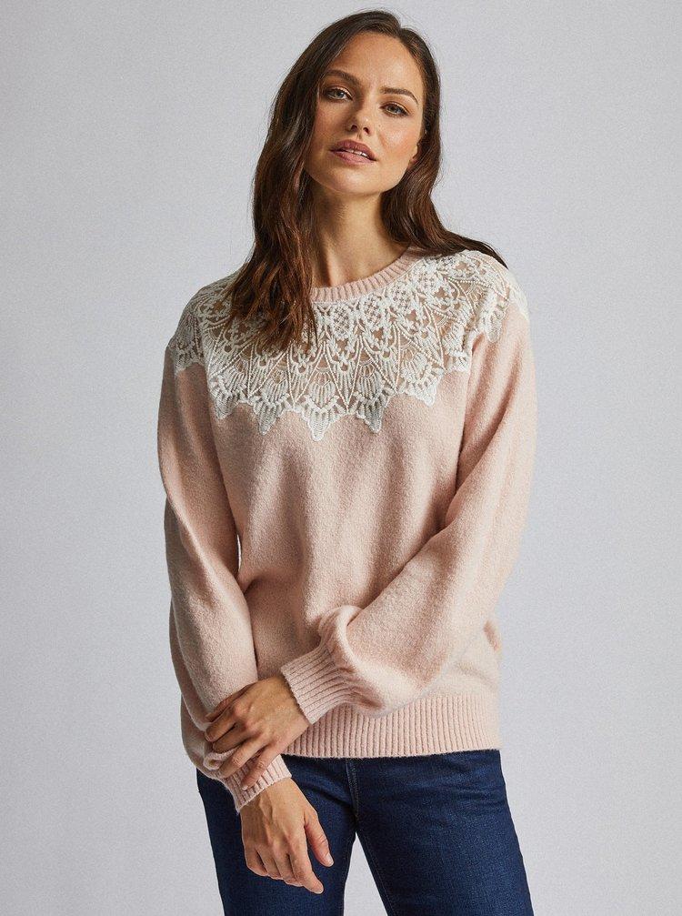Rúžový sveter s krajkou Dorothy Perkins