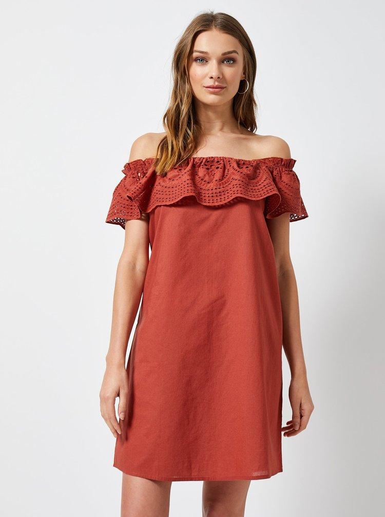 Cihlové šaty s madeirou a odhalenými rameny Dorothy Perkins