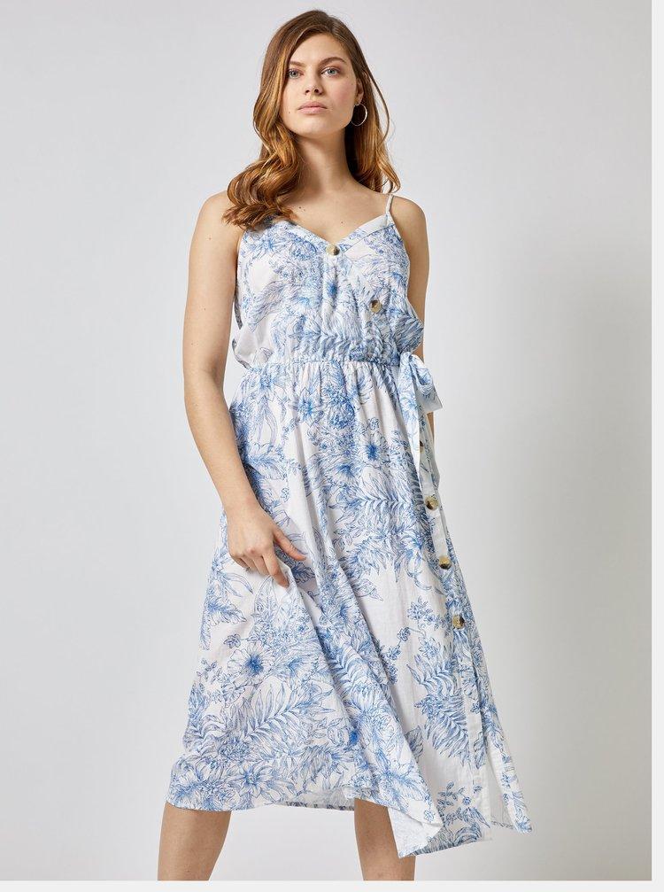 Modro–biele kvetované midišaty s prímesou ľanu Dorothy Perkins