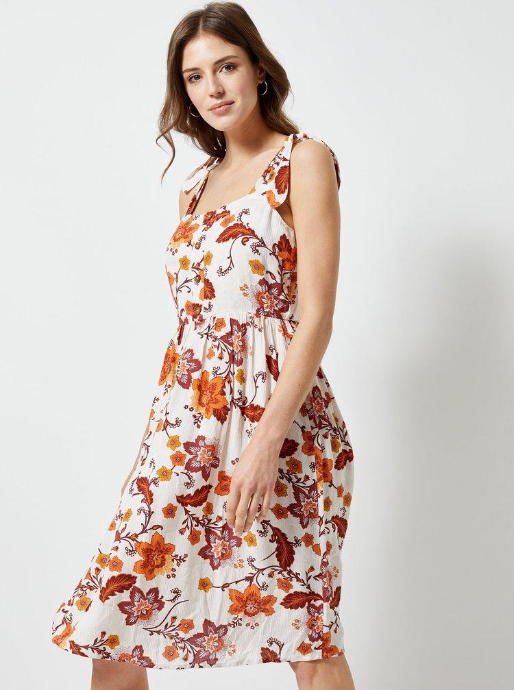 Oranžovo–krémové kvetované šaty Dorothy Perkins