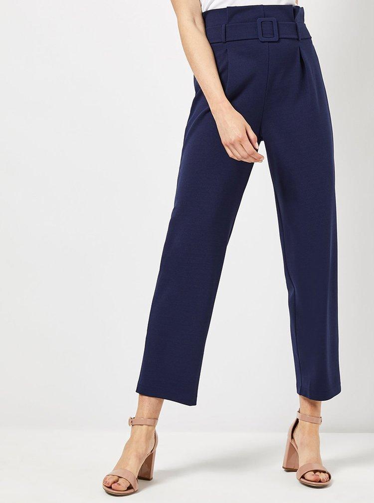 Tmavě modré zkrácené kalhoty s vysokým pasem Dorothy Perkins