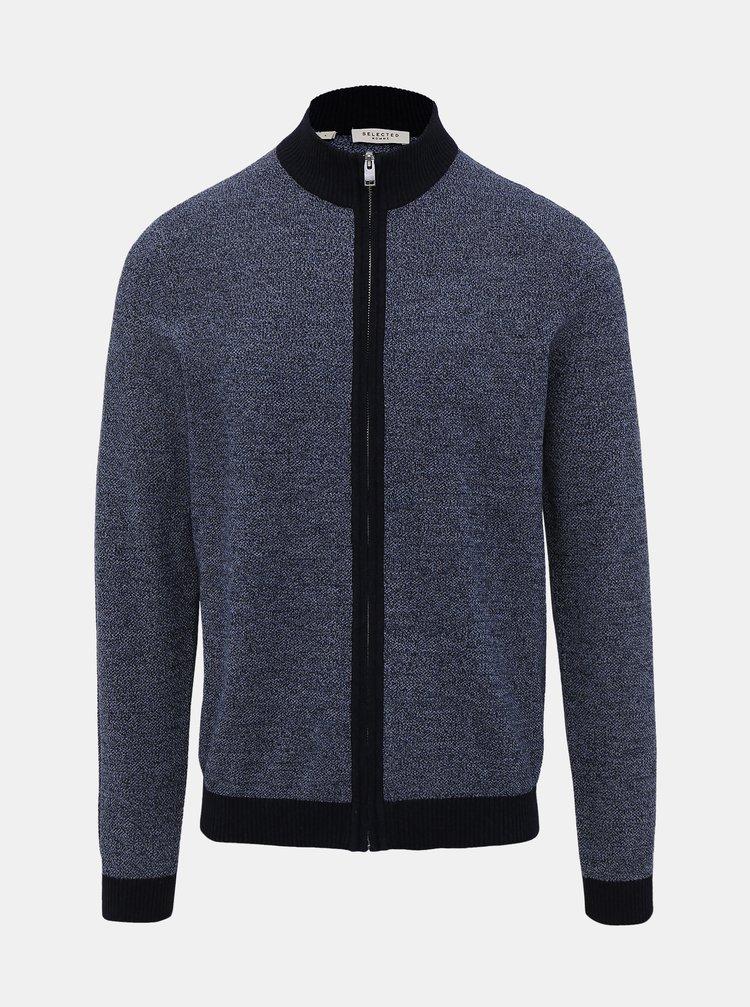 Modrý svetr na zip Selected Homme Fernando