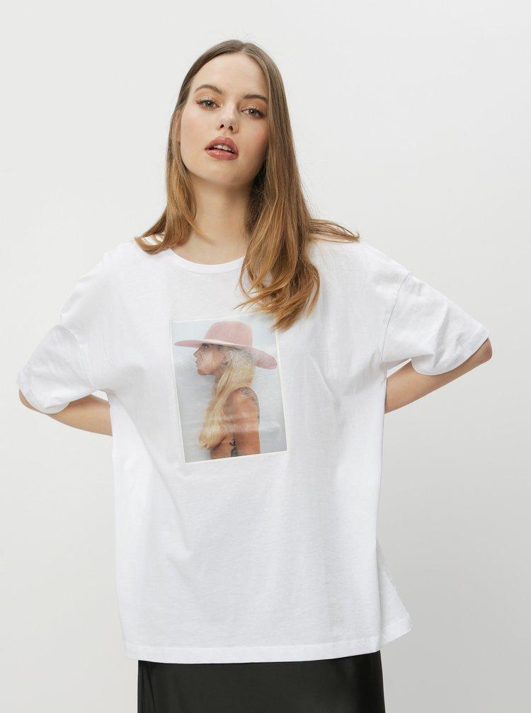 Biele tričko Noisy May Lady Gaga