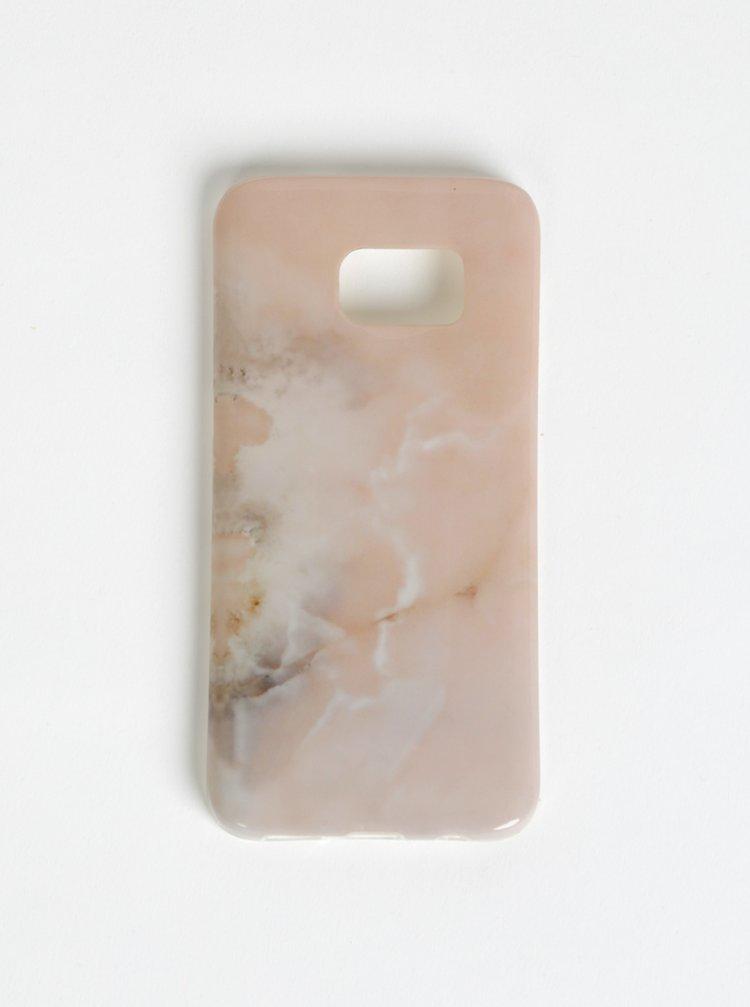 Starorůžový vzorovaný obal na Samsung Galaxy S7 Haily´s Marbel