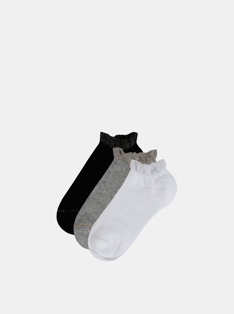Sada tří párů nízkých ponožek v bílé, šedé a černé barvě TALLY WEiJL Rufle