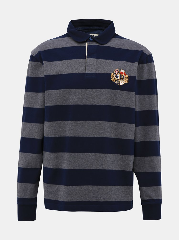 Šedo-modré pruhované polo tričko s výšivkou Raging Bull