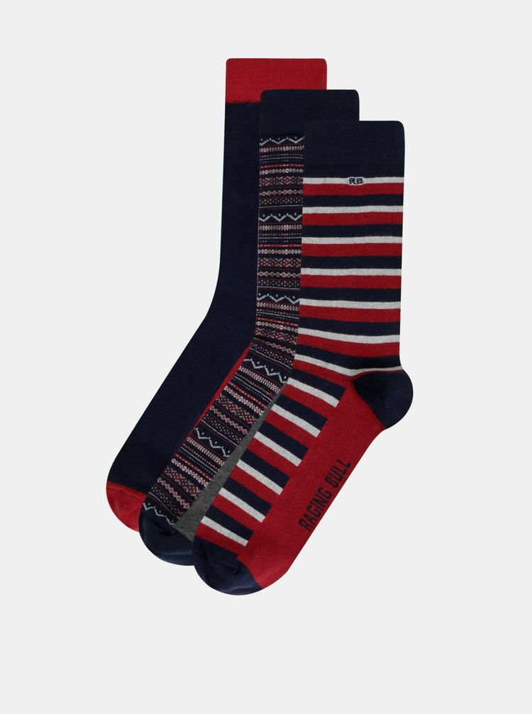 Sada tří párů vzorovaných ponožek v tmavě modré a červené barvě Raging Bull