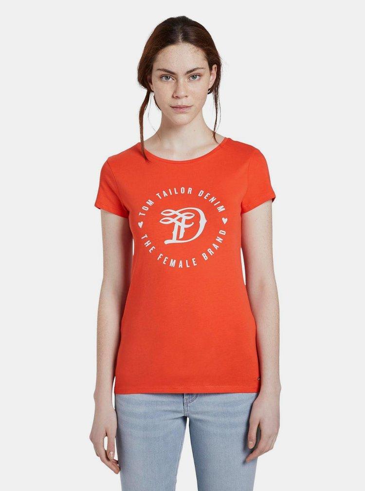 Tricouri pentru femei Tom Tailor Denim - rosu