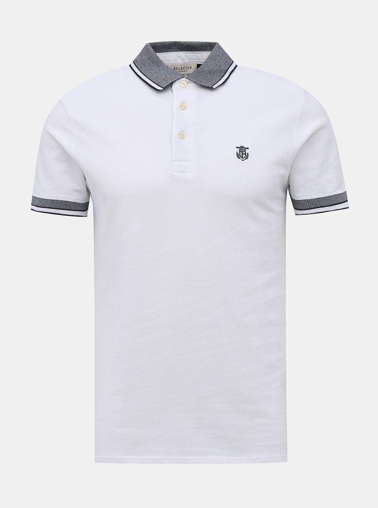 Bílé polo tričko Selected Homme Twist