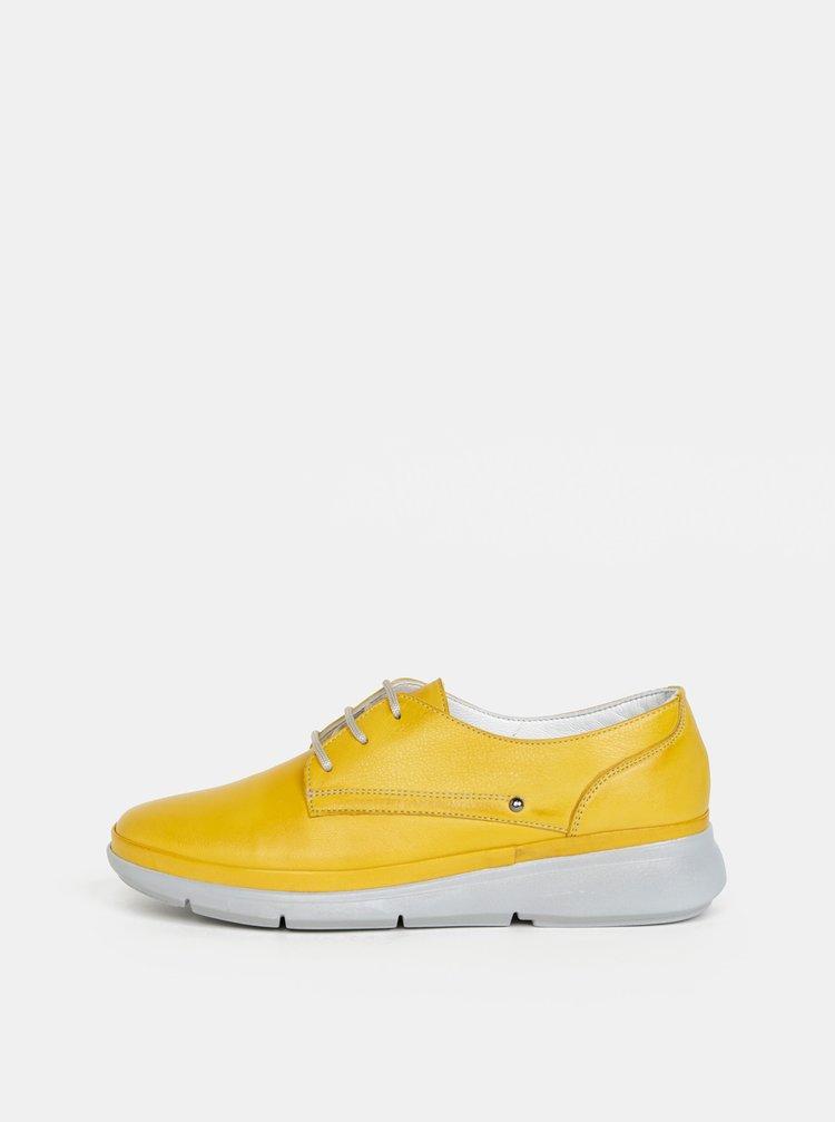 Žluté dámské kožené polobotky WILD
