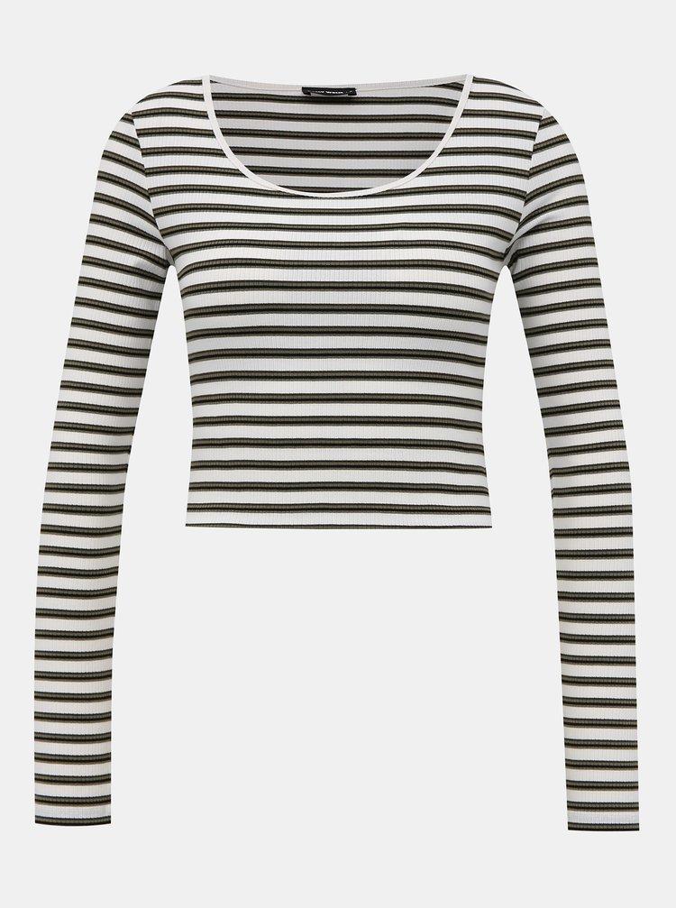 Bílé pruhované krátké basic tričko TALLY WEiJL