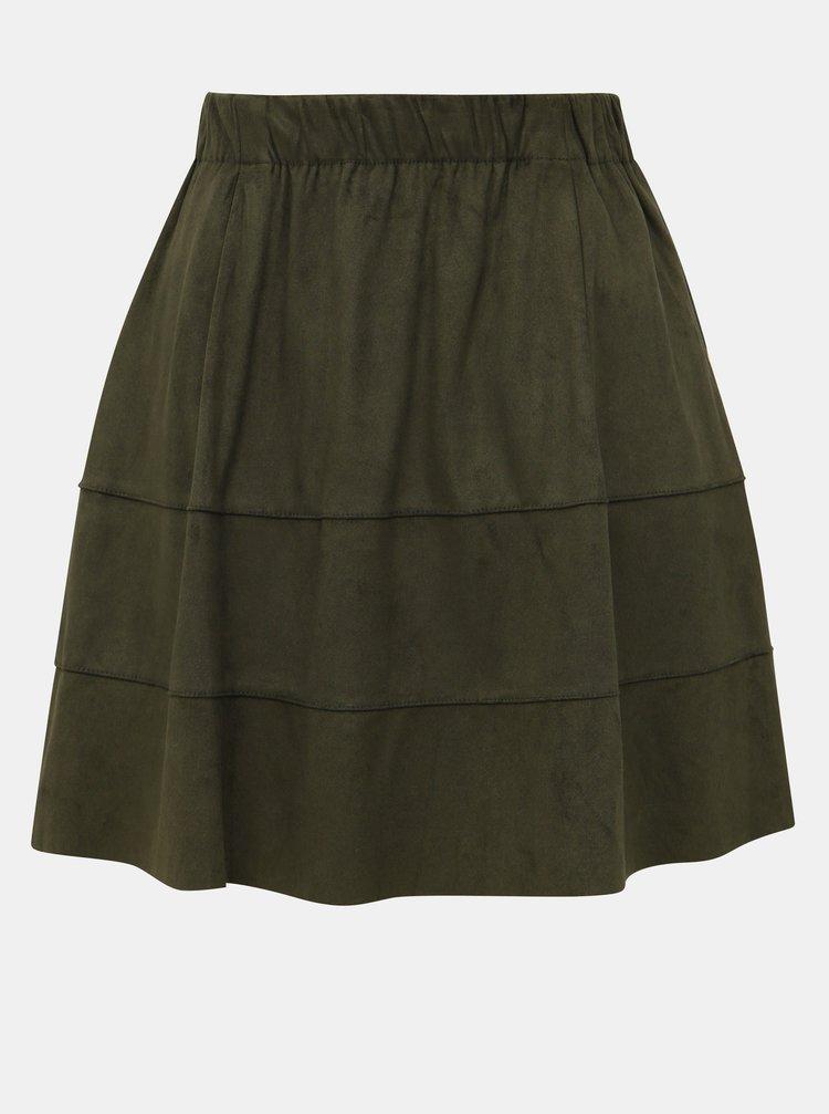 Kaki sukňa v semišovej úprave Noisy May Lauren