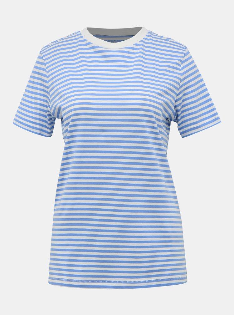 Světle modré pruhované basic tričko Selected Femme Perfect