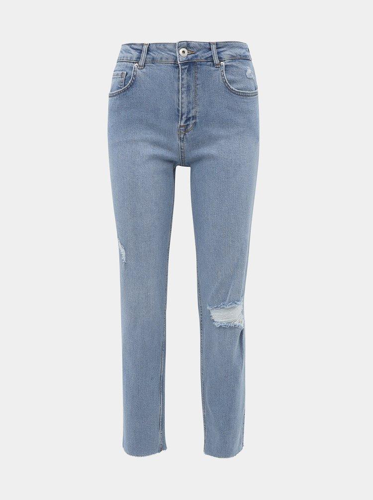 Modré zkrácené straight fit džíny Noisy May Jenna