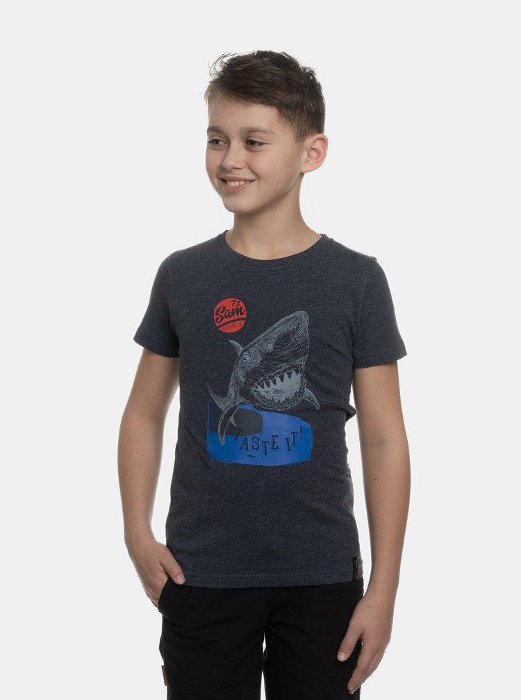 Tmavomodré chlapčenské tričko s potlačou SAM 73