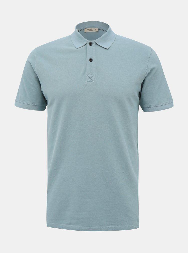Světle modré basic polo tričko Selected Homme Soho