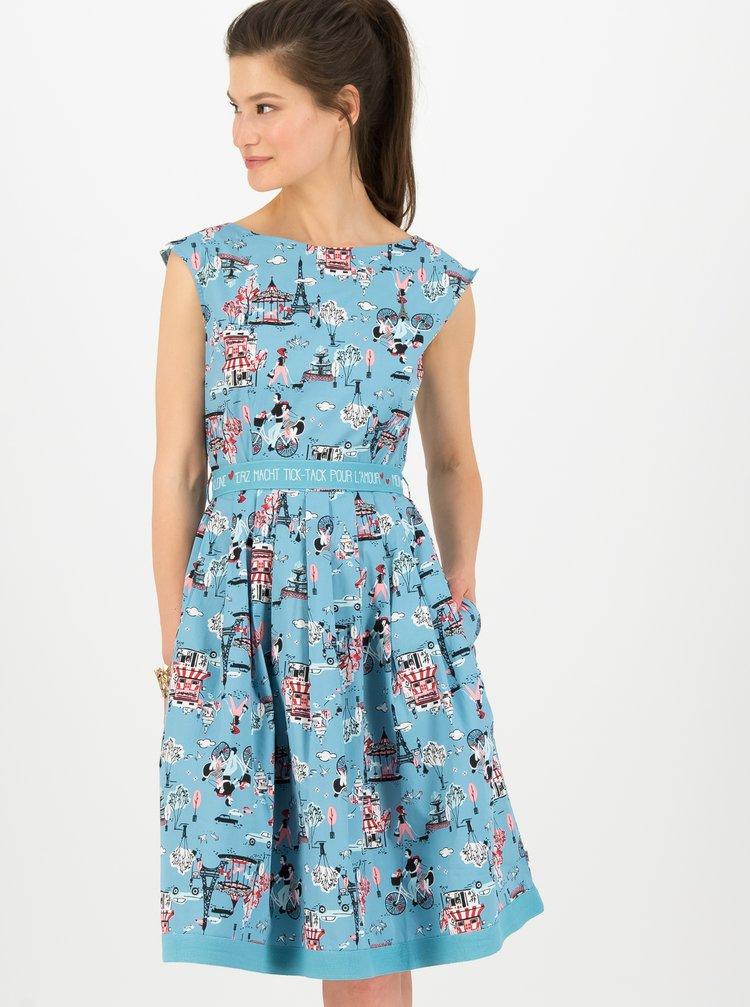 Modré vzorované dámské šaty Blutsgeschwister