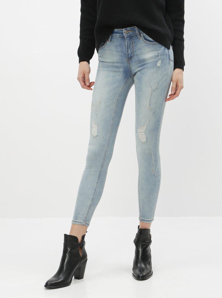 Světle modré skinny fit džíny s potrhaným efektem VILA Commit