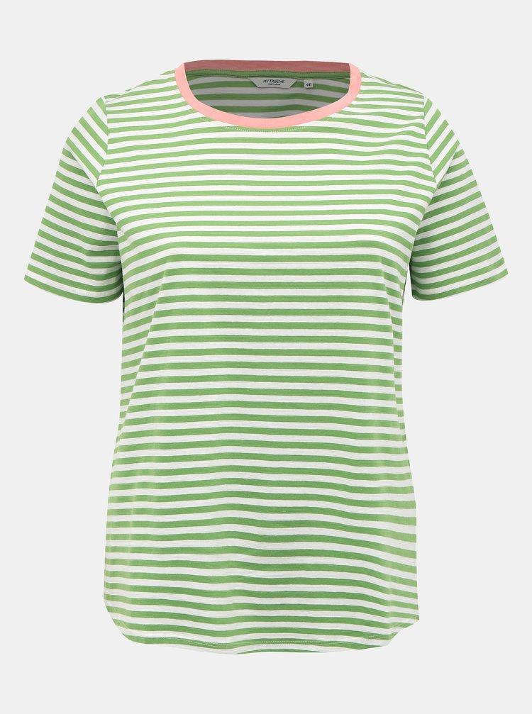 Zelené dámské pruhované basic tričko My True Me Tom Tailor