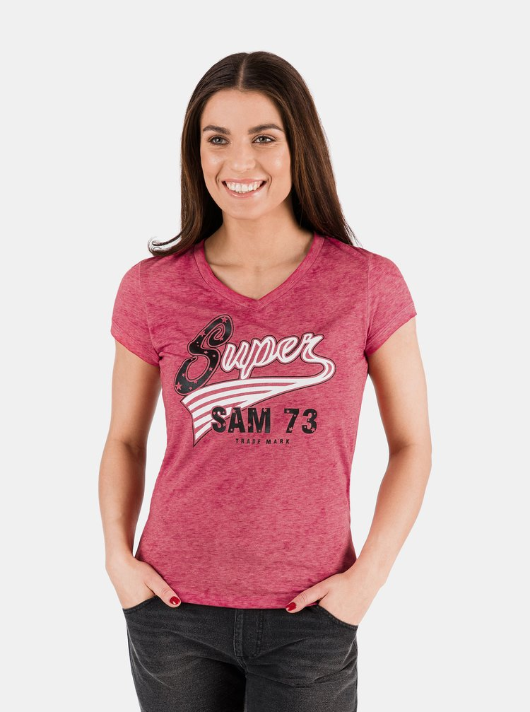 Červené dámské tričko s potiskem SAM 73
