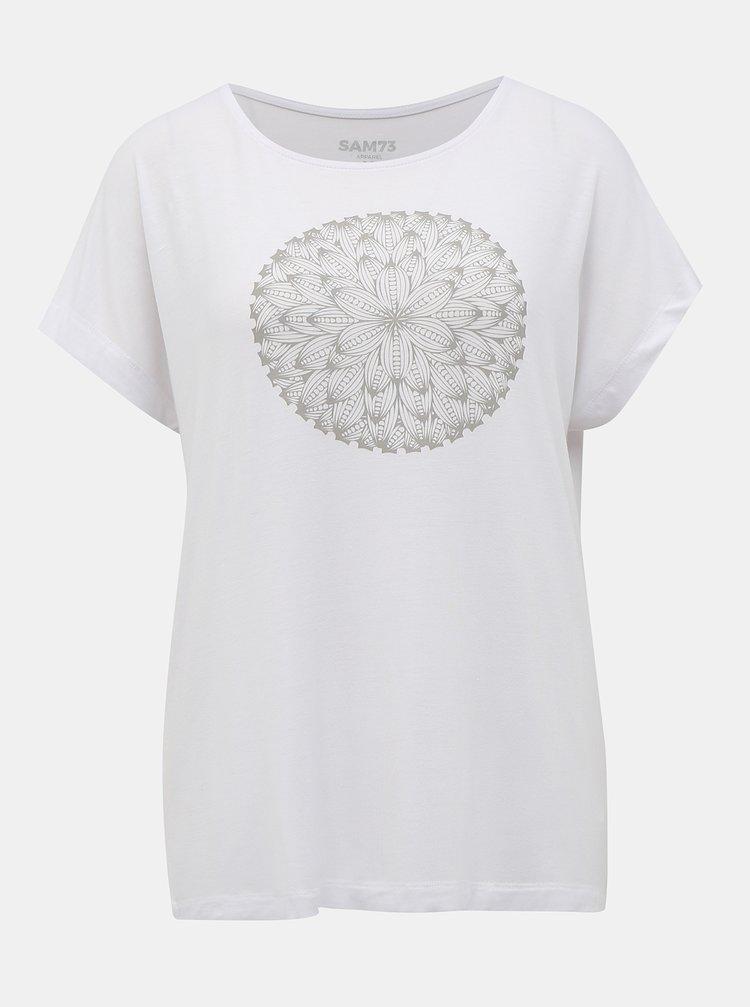 Bílé dámské tričko s potiskem SAM 73