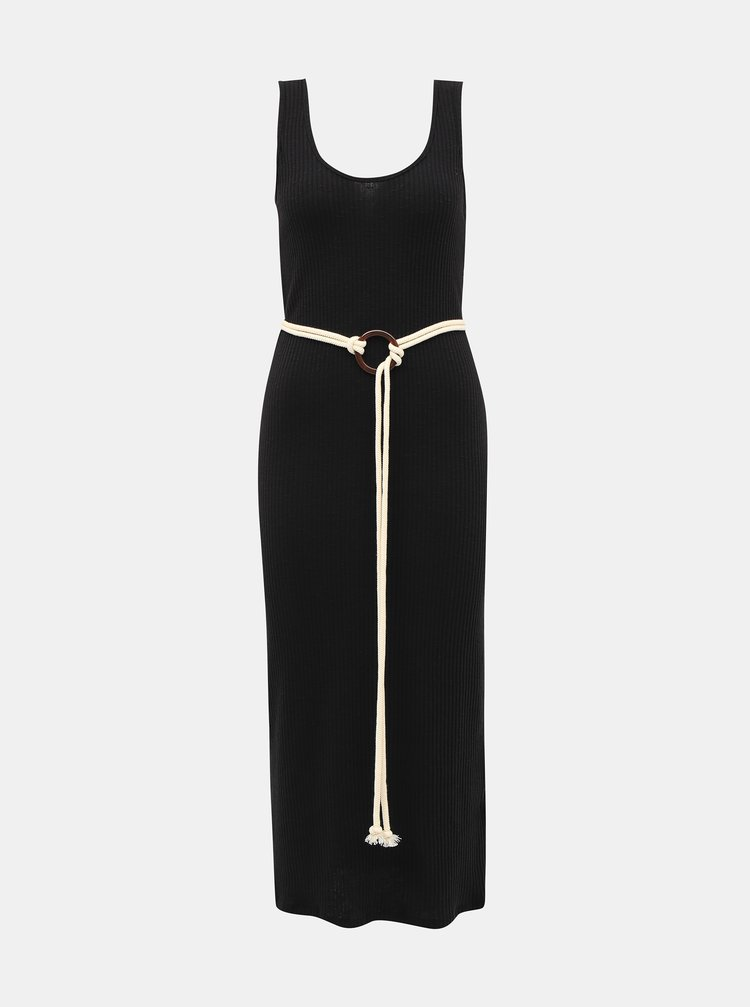 Čierne rebrované šaty s opaskom Alcott