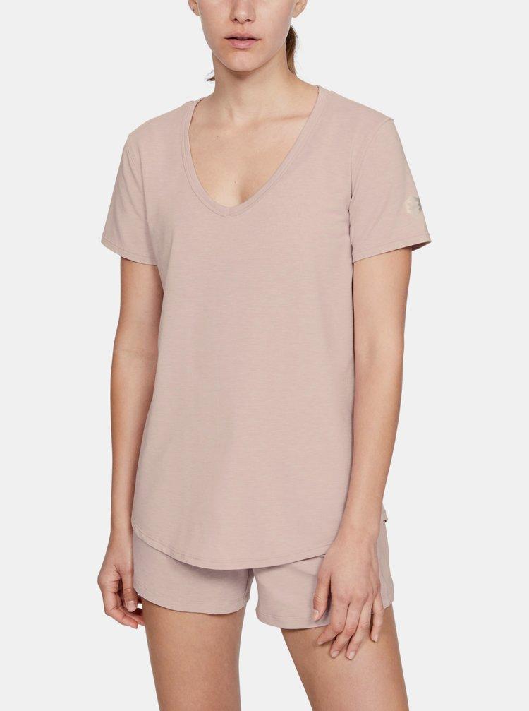 Růžové dámské pyžamové tričko Recovery Under Armour