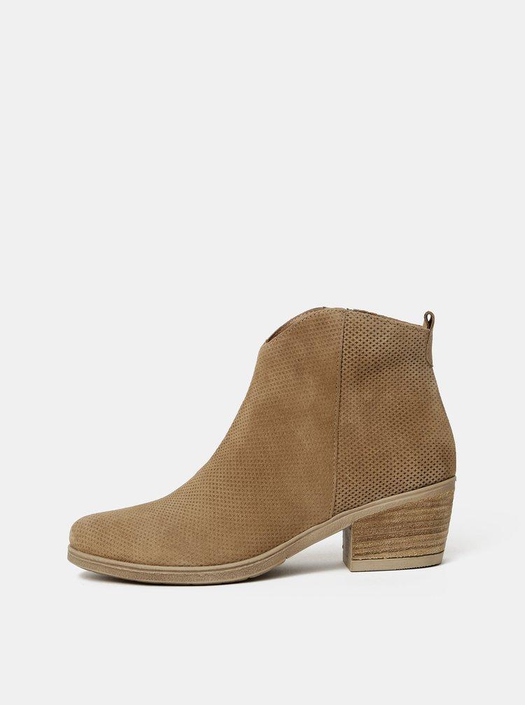 Hnedé dámske vzorované semišové členkové topánky OJJU