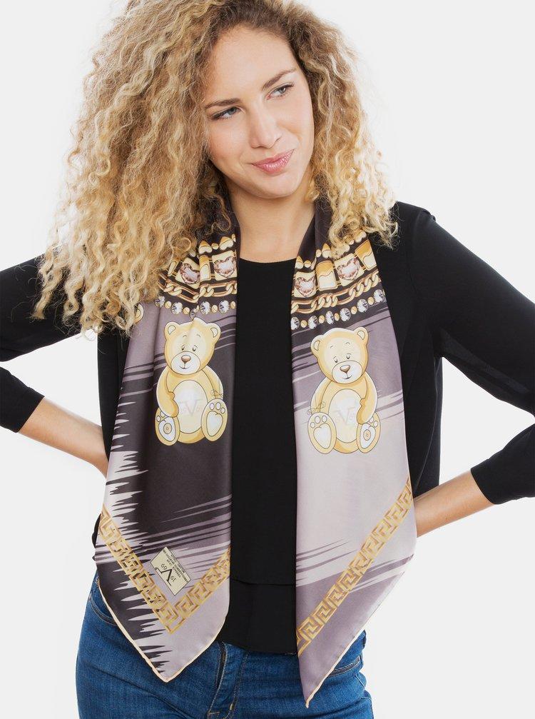 Šedo-černý dámský vzorovaný šátek Versace 19.69