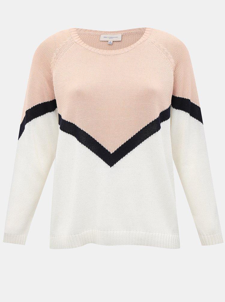 Bílo-růžový svetr ONLY CARMAKOMA Sara