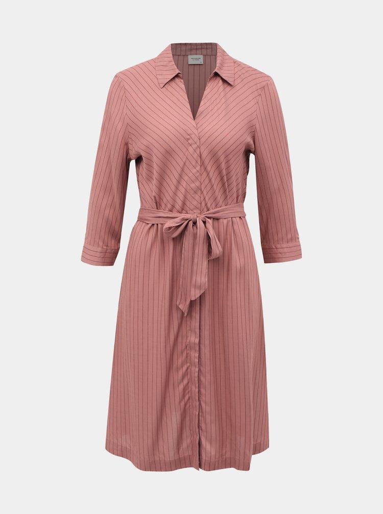 Ružové pruhované košeľové šaty Jacqueline de Yong Robbie