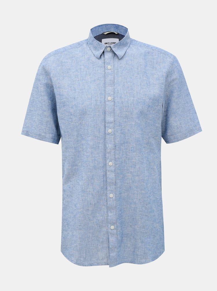 Modrá lněná košile ONLY & SONS Caiden