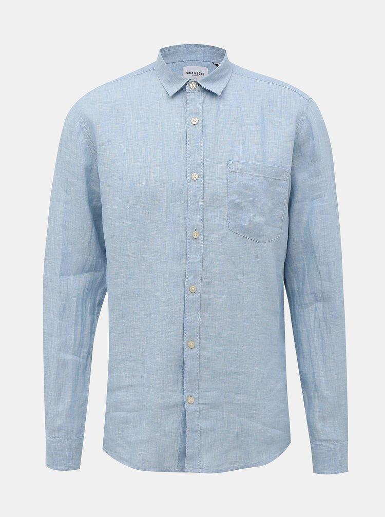 Světle modrá lněná slim fit košile ONLY & SONS Luke