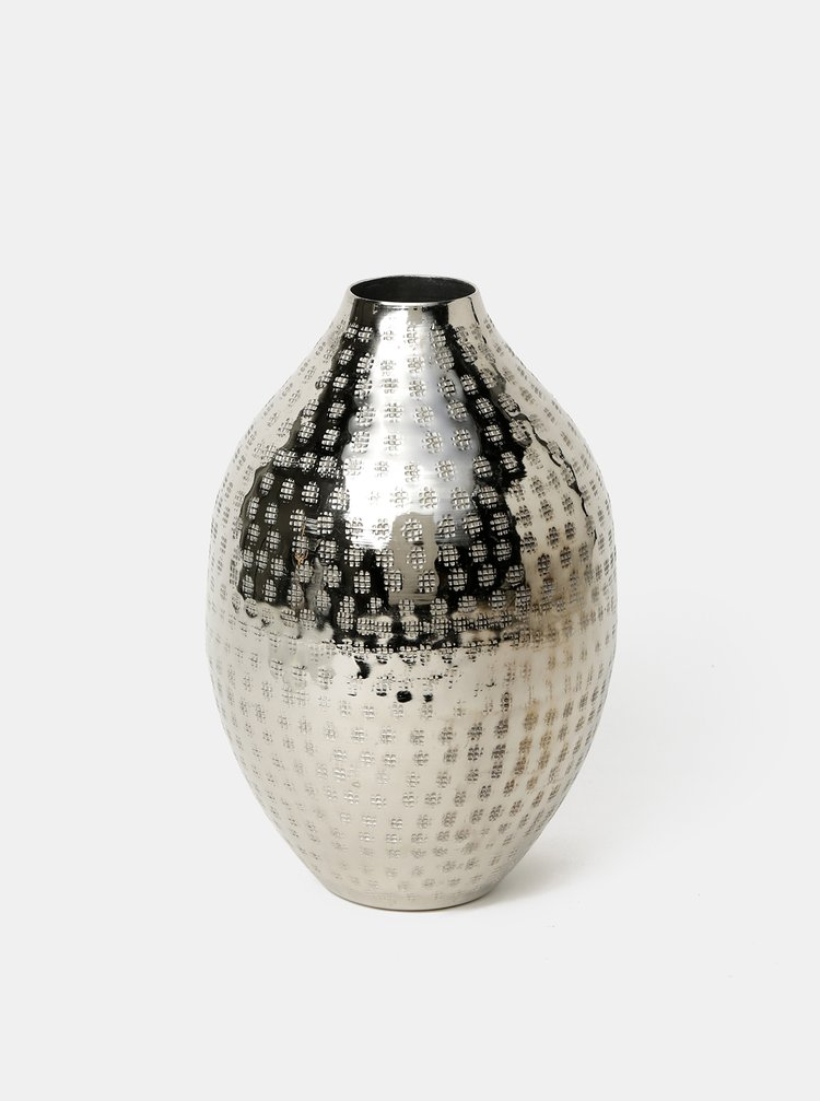Vzorovaná kovová váza v striebornej farbe BUTLERS