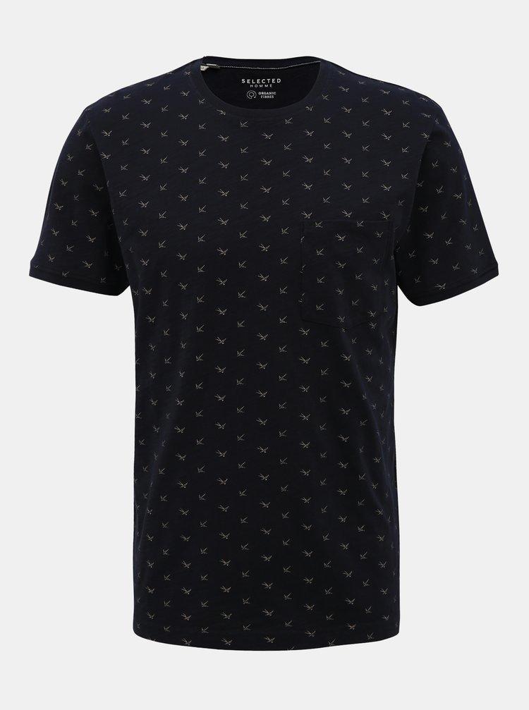 Tmavě modré vzorované tričko Selected Homme Ulrik