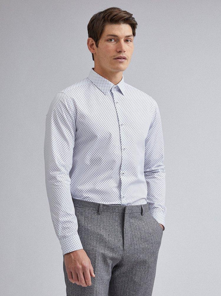 Biela vzorovaná slim fit košeľa Burton Menswear London
