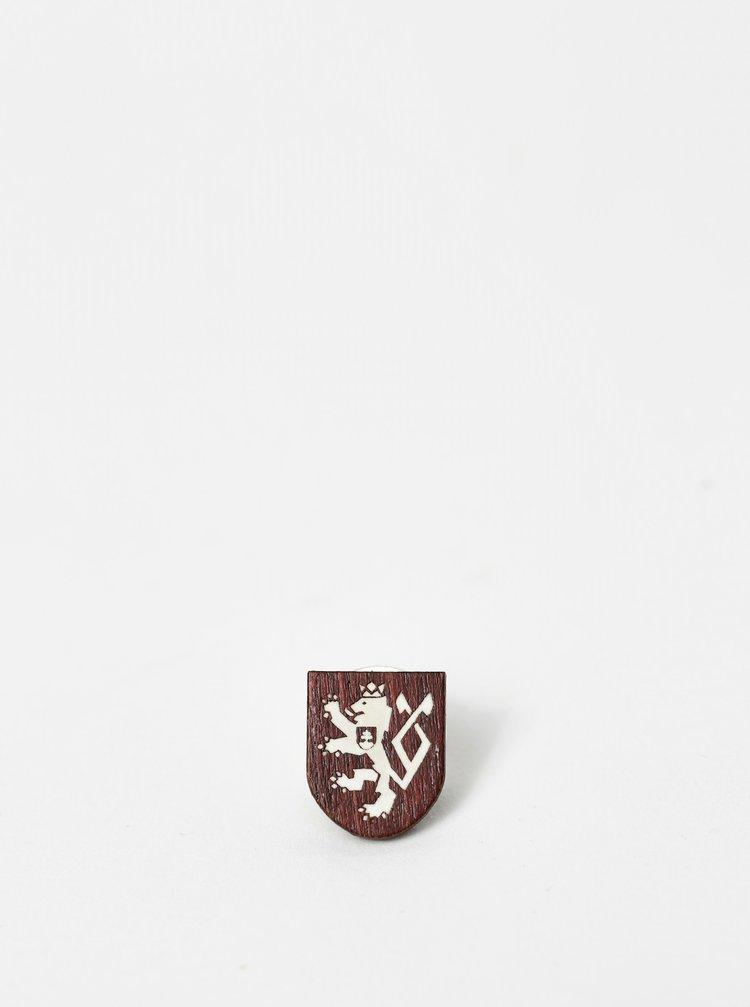 Dřevěná brož 100 let ČSR BeWooden