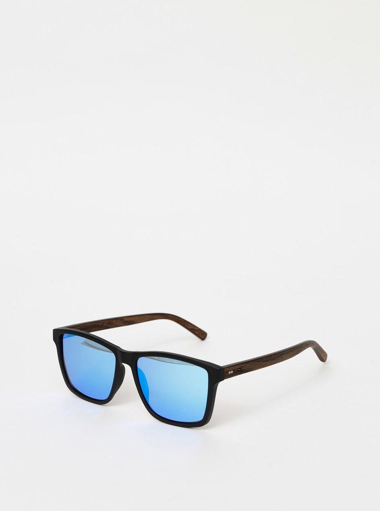 Černé dřevěné sluneční brýle BeWooden Karlsson