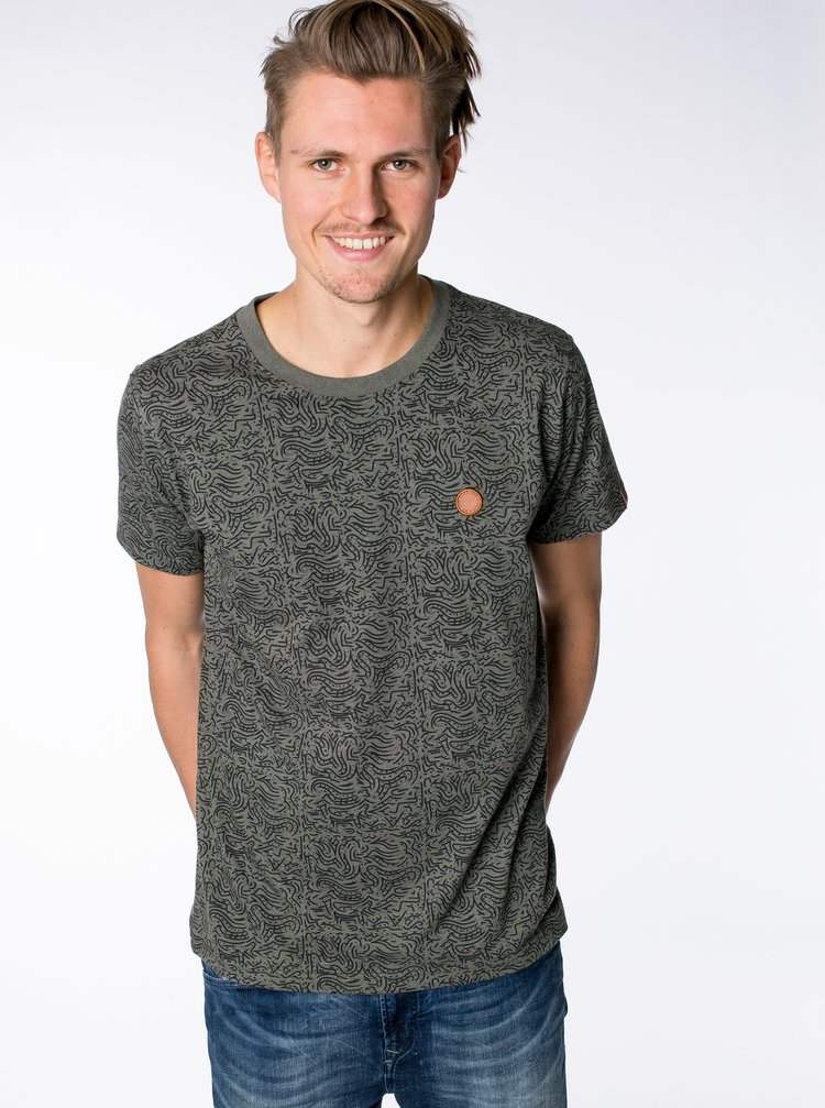 Kaki pánske vzorované tričko Alife and Kickin Nicak