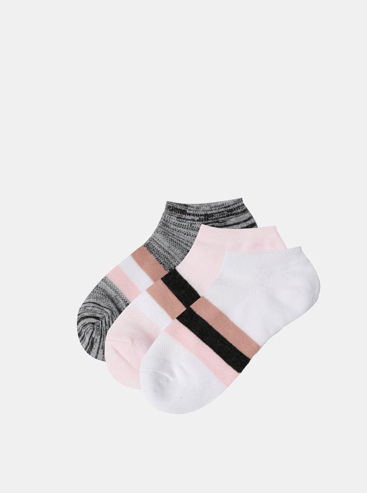 Sada tří párů nízkých ponožek v růžové a šedé barvě TALLY WEiJL