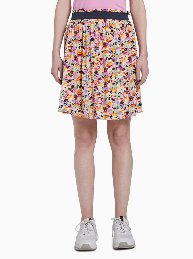 Růžová květovaná sukně Tom Tailor Denim