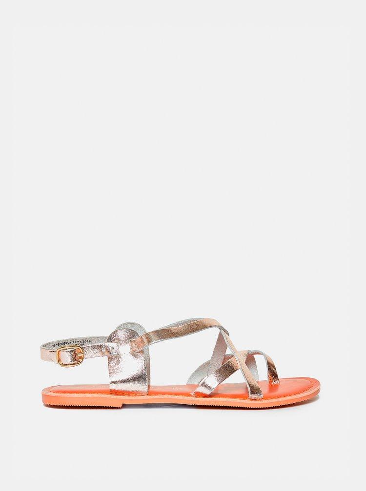 Kožené sandály ve zlaté barvě Dorothy Perkins