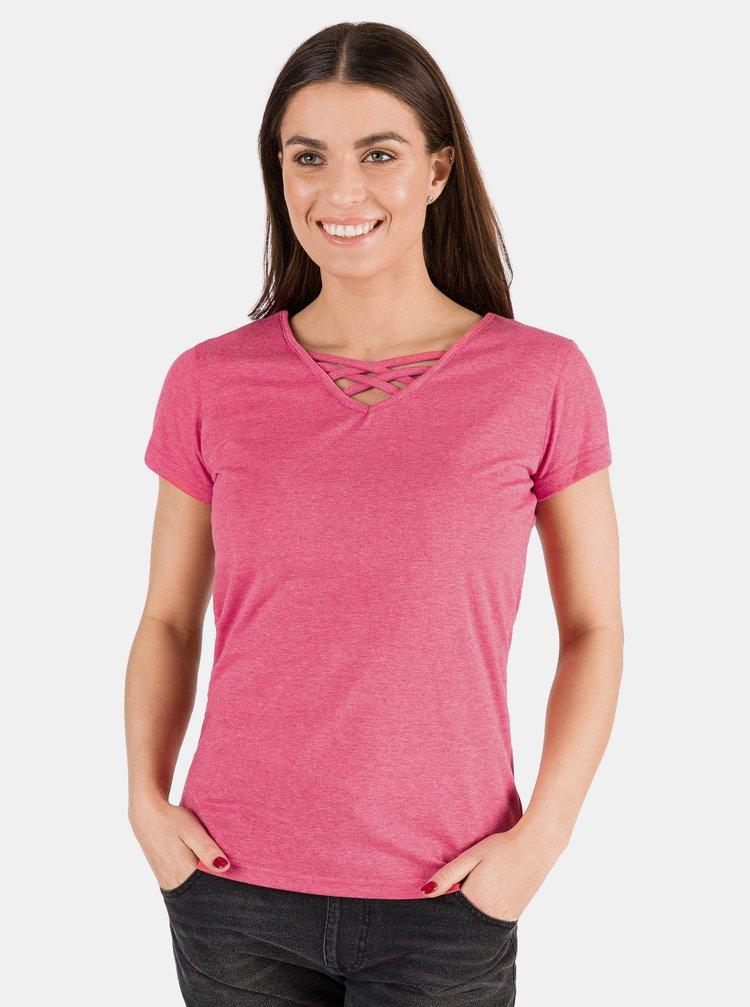 Růžové dámské basic tričko SAM 73
