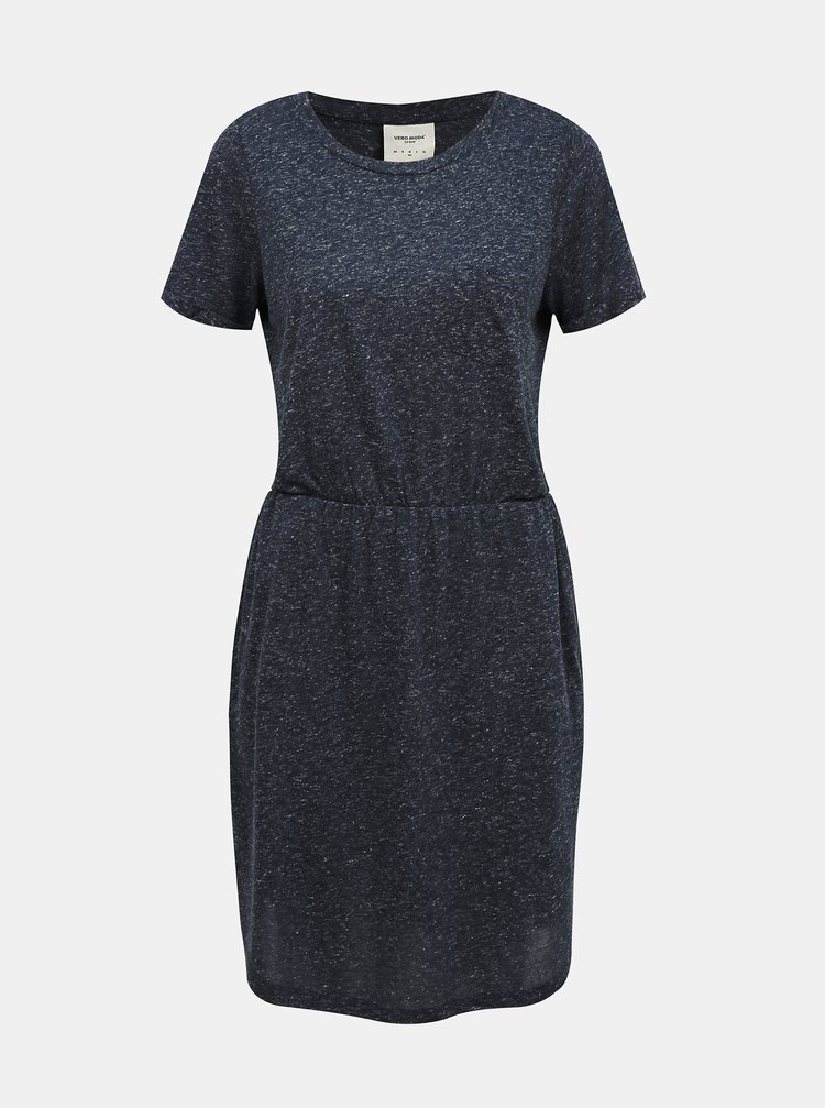Modré žíhané basic šaty s příměsí lnu VERO MODA