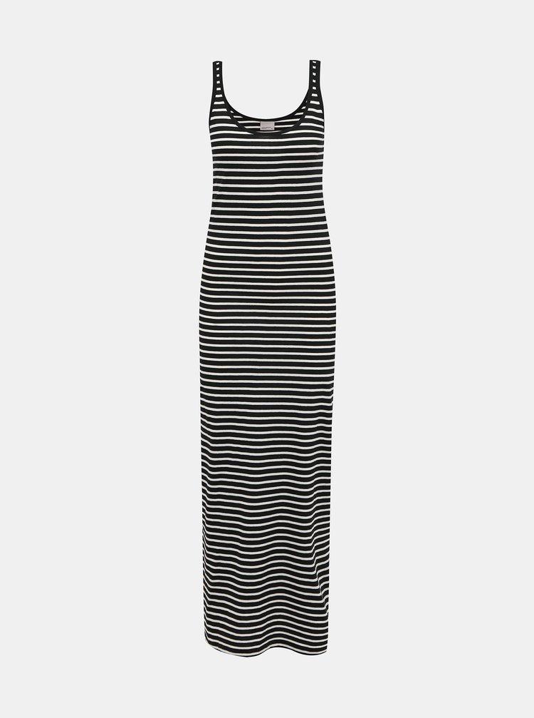 Bílo-černé pruhované basic maxišaty VERO MODA