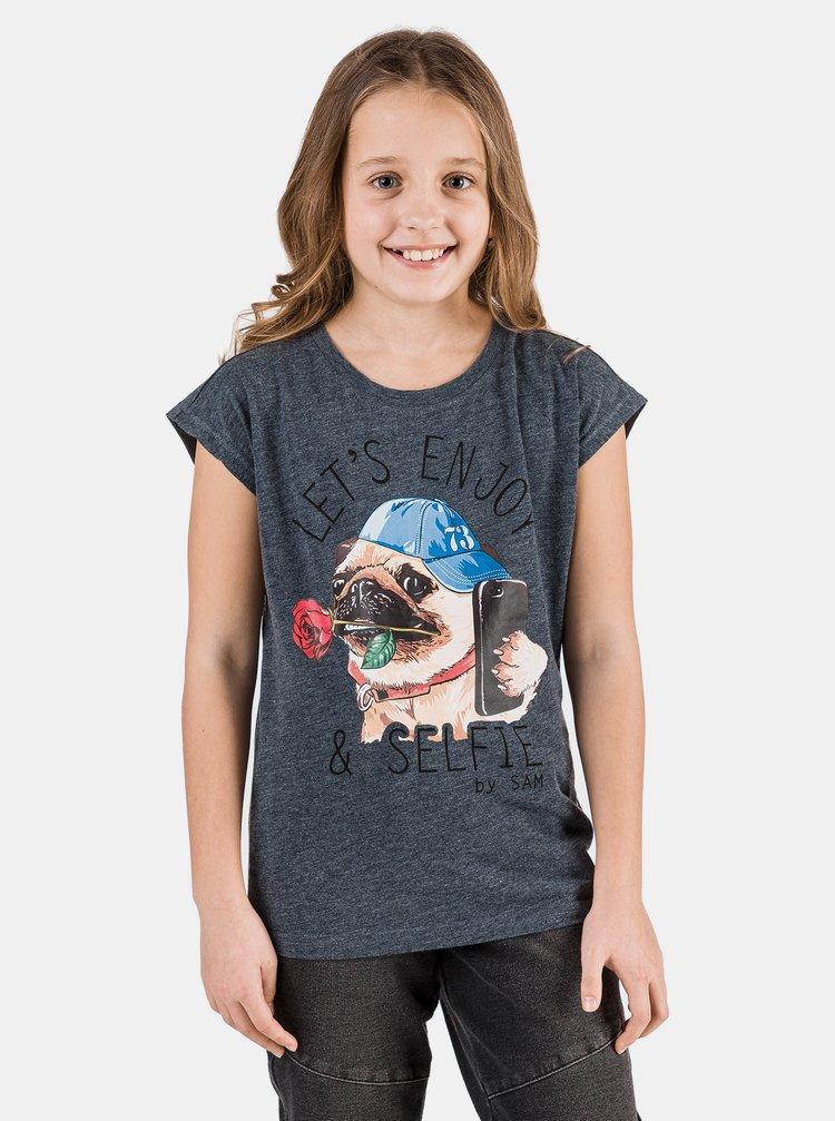 Tmavě modré holčičí tričko s potiskem SAM 73