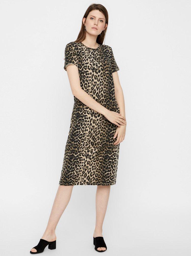 Hnědé šaty s leopardím vzorem AWARE by VERO MODA Gava