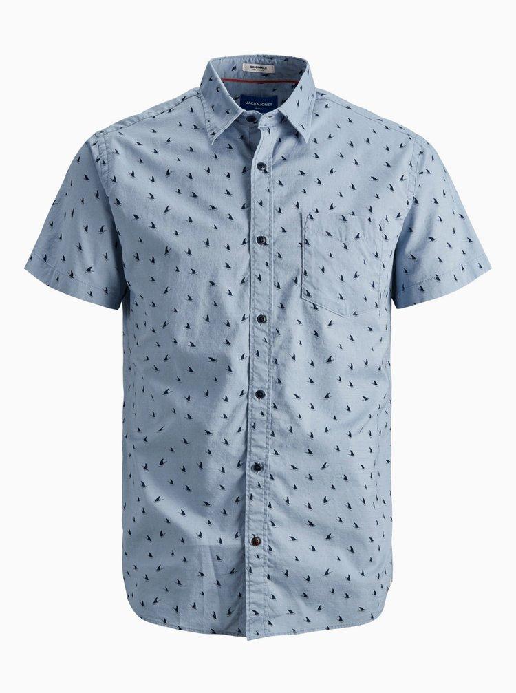 Modrá vzorovaná košile Jack & Jones Hex