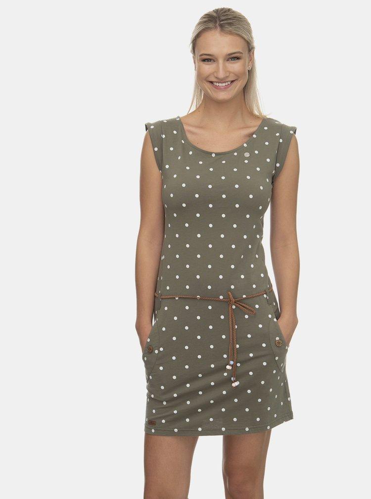 Kaki bodkované šaty Ragwear